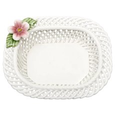 Levante Spain Porcelain Basket Weave Dish with Pink Flower Lattice
