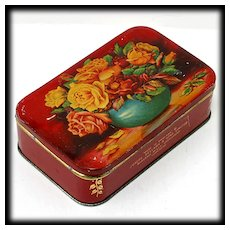 Vintage Red Tin with Flowers English Candy Tin Joseph Bellamy and Sons
