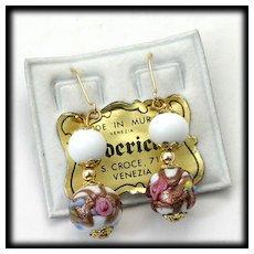 Venetian Glass Earrings Wedding Cake Beads Frederica Vintage Murano