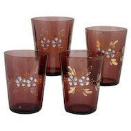 Antique Victorian Amethyst Art Glass Tumblers Enameled Flowers Set 4