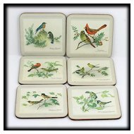 Pimpernel Cork Coasters Songbird Collection Box Set 6 Vintage