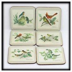 Pimpernel Cork Coasters Songbird Collection Box Set 6 Vintage