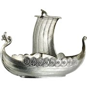 Vintage Pewter Viking Boat Handstopt Norway Ship Longboat Scandinavian Art