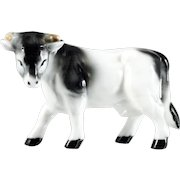Bone China Cow Bull Figurine Made in Japan Vintage Porcelain Black and White Original Label