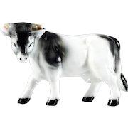 Bone China Cow Bull Figurine Made in Japan Vintage Porcelain Black and White Original Label