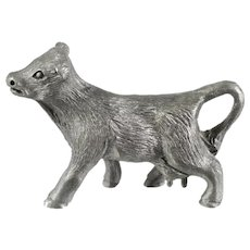Spoontiques Pewter Cow Figurine Miniature Excellent Condition Signed Vintage