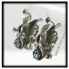 Art Nouveau Style Silvertone Flower Earrings with Blue Rhinestones