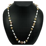 Vintage Necklace Venetian Wedding Cake Beads White Pink and Goldtone