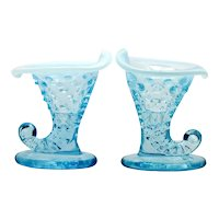Fenton Art Glass Blue Opalescent Hobnail Miniature Cornucopia Candle Holder Pair