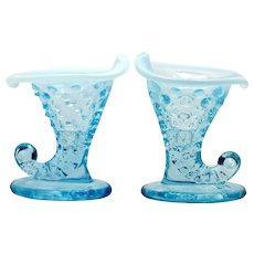 Fenton Art Glass Blue Opalescent Hobnail Miniature Cornucopia Candle Holder Pair
