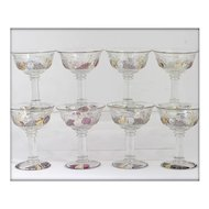 Westmoreland Della Robbia Champagne Glasses Sherbets Set 8 Vintage Flashed Glass