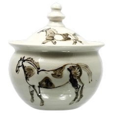 Art Pottery Covered Jar Horse Hand Painted Decoration Signed Potter