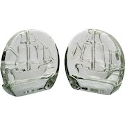 Pilgrim Glass Tall Ship Bookends Crystal Art Glass with Label