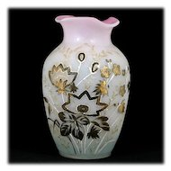Victorian Bohemian Bristol Glass Vase Pink White Enameled Large Antique Decor