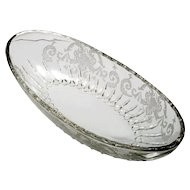 New Martinsville Floral Scroll Glass Etched Celery Bowl Oval Vintage Glass
