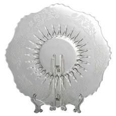 New Martinsville Meadow Wreath Plate Mayonnaise Underplate Etched Glass Radiance