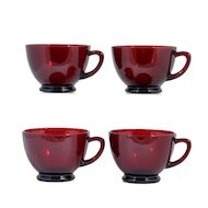 Anchor Hocking Royal Ruby Red Punch Tea Cups Vintage Glass 1930s