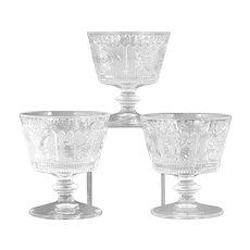 Westmoreland Princess Feather Sherbet Glasses Set of 3 Vintage Elegant Glass