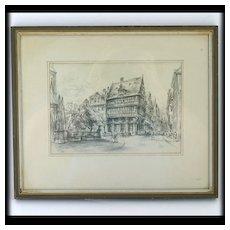Rick Enders Die Goldene Waage Etching Sketch German Artist Medieval House