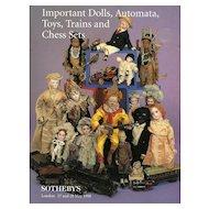 Sotheby's Catalog Dolls Automata Toys Trains Chess Sets London May 1998