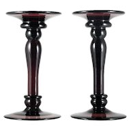 Amethyst Art Glass Taper Candleholders Candlesticks Large Pair Home Decor Statement