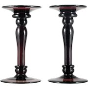 Amethyst Art Glass Taper Candleholders Candlesticks Large Pair Home Decor Statement
