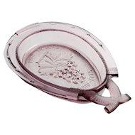 Amethyst Vintage Glass Horseshoe Bowl Paul Revere Concord 1775 Bicentennial Souvenier