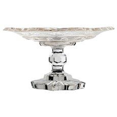 Bohemian Art Glass Compote Engraved Cut Crystal Circa 1840s Antique