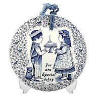 Norma Sherman Staffordshire Pottery Plaque You are Special Today Birthday Gift Vintage