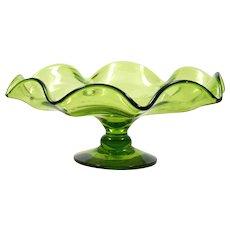 Blenko Art Glass Green Compote Vintage Hand Blown Bowl American