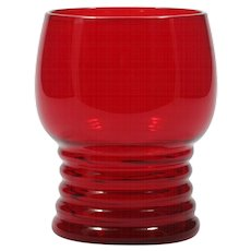 Imperial Glass Ruby Red Tumbler #451 Shaeffer Georgian Ringed Base Vintage