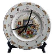 Royal Doulton Bunnykins Wall Clock Vintage English Porcelain Teaching School Room