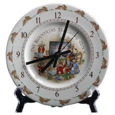 Royal Doulton Bunnykins Wall Clock Vintage English Porcelain Teaching School Room