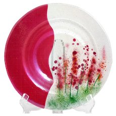 Cranberry Iridescent Fused Glass Bowl Red Flower Garden Studio Hand Made