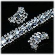 Vintage Pale Blue Rhinestone Bracelet and Clip on Earrings Set