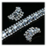 Vintage Pale Blue Rhinestone Bracelet and Clip on Earrings Set