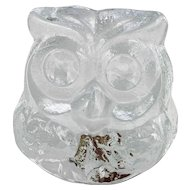 Blenko Art Glass Crystal Owl Figurine Hand Made USA with Label Lars Hellsten.