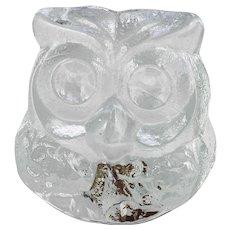 Blenko Art Glass Crystal Owl Figurine Hand Made USA with Label Lars Hellsten.