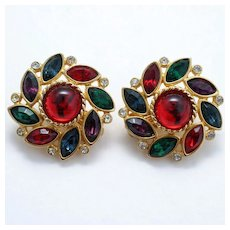 Bright and Bold Multicolored Rhinestone Clip Earrings