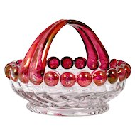 Westmoreland Glass Swirl and Ball Basket Ruby Stained Crystal Vintage Glass
