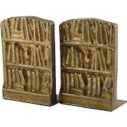 Brass Bookends Pair Vintage Bookshelves Library Design