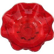 Viking Ruby Art Glass Bowl Double Crimped Vintage Mid Century Modern
