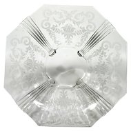 Heisey King House Etched Console Bowl Vintage Elegant Glass 1930s