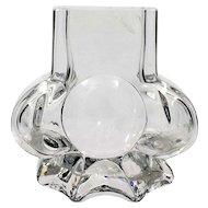 Lars Hellsten Skruf Glass Vase Swedish Art Glass Vintage Signed MCM