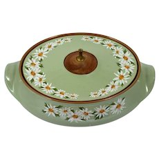 Taylor Smith and Taylor Lazy daisy Covered Casserole 1960s Mid Century Modern Green