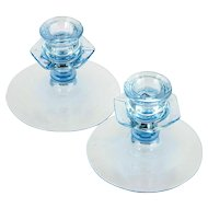 Fostoria Blue Low Candlestick Holders No. 2324 Vintage Elegant Glass Pair