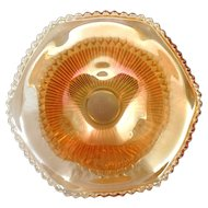Jeannette Anniversary Carnival Glass Bowl Vintage Glass Marigold