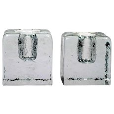Blenko Art Glass Candle Holders Crystal 84s Candle Block Pair Vintage