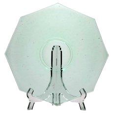 Uranium Green Elegant Depression Glass Serving Plate Octagon