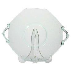 Lancaster Green Elegant Glass Plate Platter Handled Vintage Depression Era 1930s